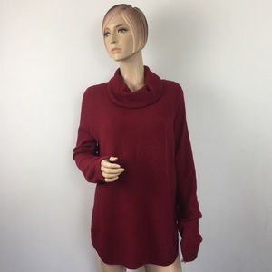 Lucky Brand Red Cowl Neck Knit Pullover Medium